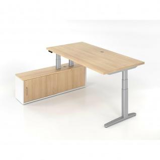 Büro Schreibtisch Stehtisch höhenverstellbar 120x80 cm Modell XBHM2c mit Memory-Schalter