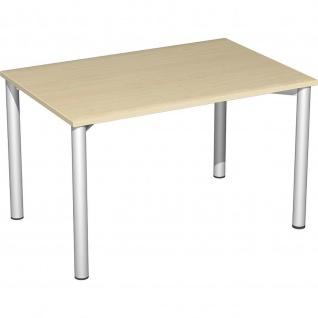 Gera Schreibtisch Bürotisch 4 Fuß Flex 1200x800x720 mm ahorn buche lichtgrau weiß