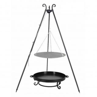 Outdoor Grill mit Feuerschale Pan 32, Dreibein, Lagerfeuerpfanne verschiedene Größen