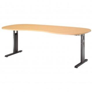 Büro Schreibtisch 200x100 cm Nierenform Modell OS20 höheneinstellbar