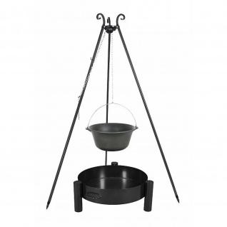 Outdoor Grill mit Feuerschale Pan 33, Dreibein, Kessel Gusseisen verschiedene Größen