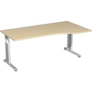 Gera PC-Schreibtisch Bürotisch C Fuß Flex rechts höhenverstellbar 1800x800/1000x680-820mm ahorn buche lichtgrau weiß