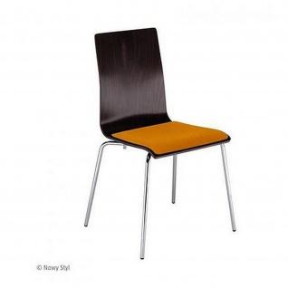Bistrostuhl Besucherstuhl Cafe VII Seat plus Chrom mit Sitzpolster Buchenschichtholz