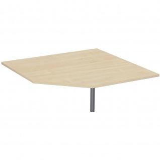 Gera Verkettungsplatte Fünfeck 90° mit Stützfuß höhenverstellbar für Schreibtisch Bürotisch 4 Fuß Flex 1225x1225x680-800mm ahorn buche lichtgrau weiß