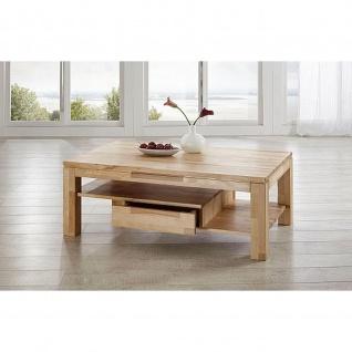 Massivholz Couchtisch CS060W mit 2 Schubladen und Ablageboden Wildeiche