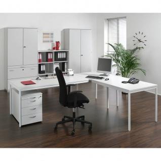 Gera Verkettungsplatte Volleck 90° für Schreibtisch Bürotisch 4 Fuß Eco mit Stützfuß 800x800mm
