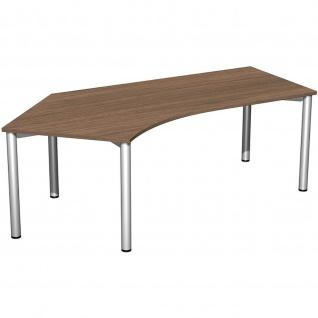 Gera Winkel-Schreibtisch 4 Fuß Flex 135° links 2166x1130mm onyx nussbaum