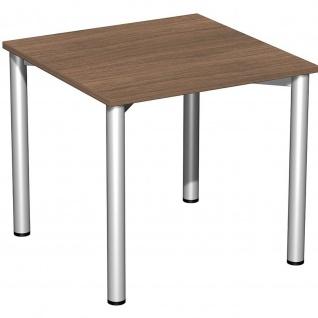 Gera Schreibtisch Bürotisch 4 Fuß Flex 800x800mm onyx nussbaum
