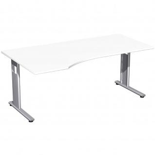 Gera PC-Schreibtisch Bürotisch C Fuß Flex links 1800x800/100x720mm ahorn buche lichtgrau weiß