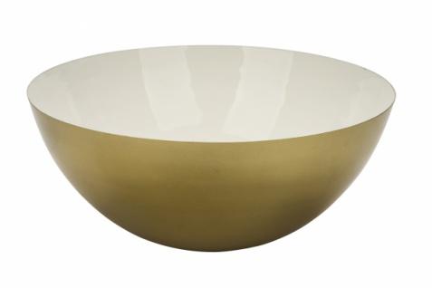 Metallschale, gold, innen weiß, ? 30 cm / Höhe: 12, 5 cm