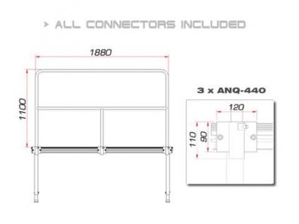 GUIL TMQ-02/440 Bühnengeländer 188cm Aluminiumversion - Vorschau