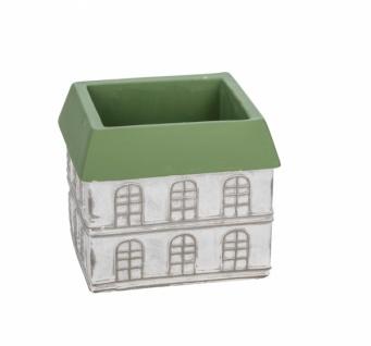 Zementtopf, Haus, weiß / grün, 16 x 16 x 14 cm