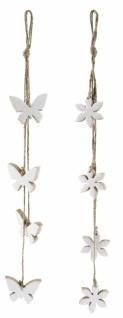 Holzhänger Kette, Blumen, Schmetterling, 2 Stück, 7 x 65 cm