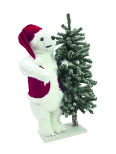 EUROPALMS Eisbär, mit beschneiter Tanne, 105cm