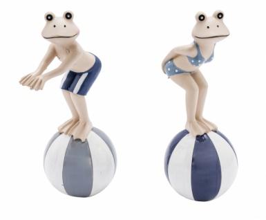 Frosch auf Ball, Kunststoff, blau, 2 Stück, Ø 3cm / Höhe: 21cm