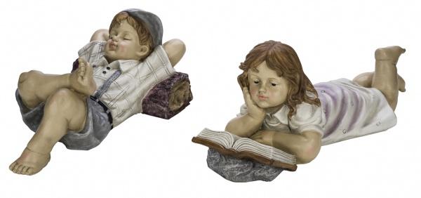 Große Kinderfiguren, Junge / Mädchen, liegend, 2 Stück, handbemalt, edler Kunststoff, 45 x 26, 5 x 20, 5cm