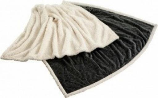 Premium Kuscheldecke mit Prägung Farbe: grau / creme , Mikrofaser 130x180cm