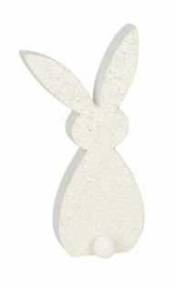 Holzhase, weiß / glitzer, 11 x 4, 5 x 24 cm
