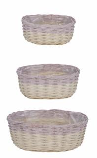 Korbset 3-teilig, oval, weiß / lila, 34 x 26 x 13cm