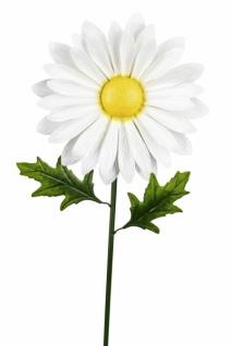 Metallstecker, Gänseblümchen, handgefertigt, weiß / grün, 31 x 18 x 98 cm