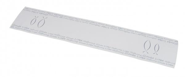 """Stofftischläufer """" Glaube , Liebe , Hoffnung"""", weiß / türkis, 29 x 145 cm"""