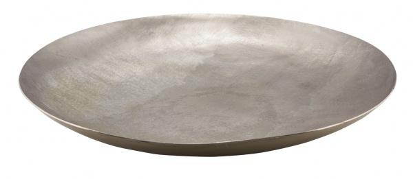 Metallschale, champagner, rund, hangefertigt, Ø 43 cm / Höhe: 6 cm