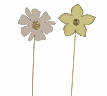 Holzstecker Blume, gelb / beige, 2 Stück, 6 x 0, 5 x 25 cm