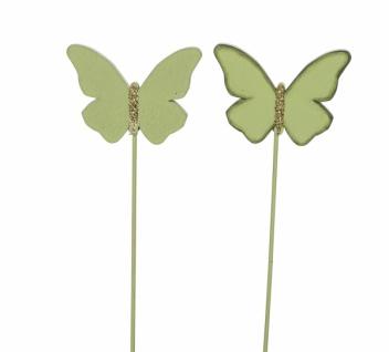 Holzstecker Schmetterling, grün, 2 sorten, 6, 5 x 0, 5 x 25 cm