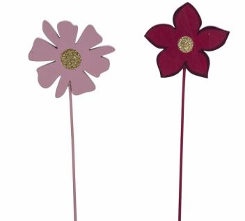 Holzstecker Blume, rosa / pink, 2 Sorten, 6 x 0, 5 x 25 cm