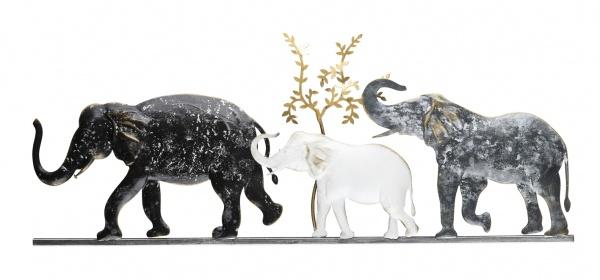 "Wandbild "" Elefant"", Metall, grau / weiß, 59, 7 x 24, 1 x 1, 9 cm"