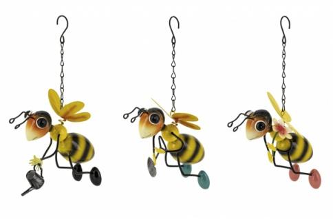 Metallhänger Biene, 3 Stück, gelb / schwarz, 11 x 9 x 26, 5 cm