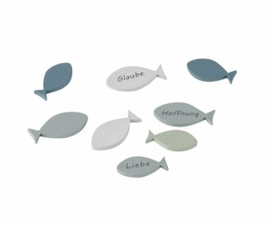 Holzfische, Streu, 8 Stück, grün, 5 x 1, 3 cm