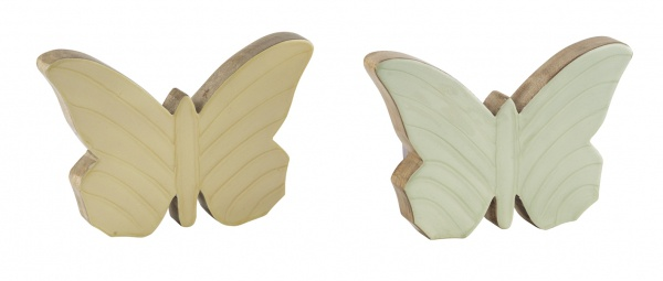 Mangoholzschmetterling, gelb / grün, 2 Stück, stehend, 6 x 8 x 2, 5 cm