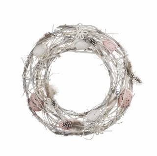 Naturkranz mit Federn und Eiern, rosa / weiß, Ø 30 cm