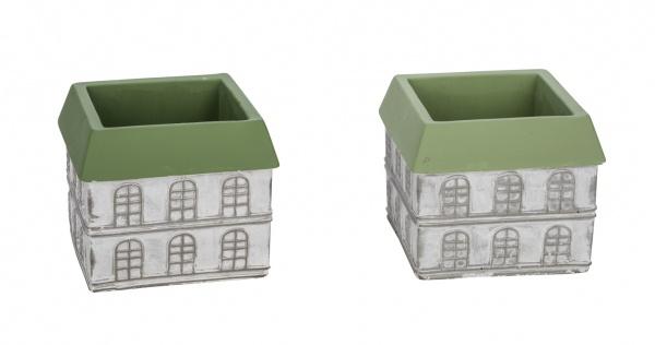 Zementtopf, Haus, weiß / grün, 2 Stück, 16 x 16 x 14 cm