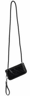 Designerhandtasche, Kunstleder, schwarz, 12 x 23 x 1 cm
