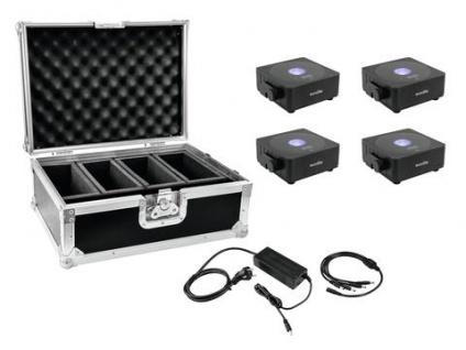 EUROLITE Set 4x AKKU Flat Light 1 schwarz + Case + Ladegerät