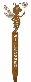 Metallstecker, Biene / Willkommen, rostig, 59, 5 x 17 x 1 cm