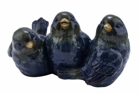 Keramikvogel, blau, 40 x 28 x 25 cm