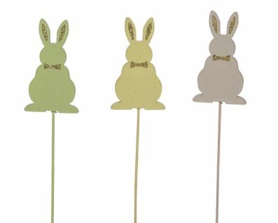 Holzstecker Hase, gelb /grün / beige, 3 Stück, 4, 5 x 0, 5 x 27cm