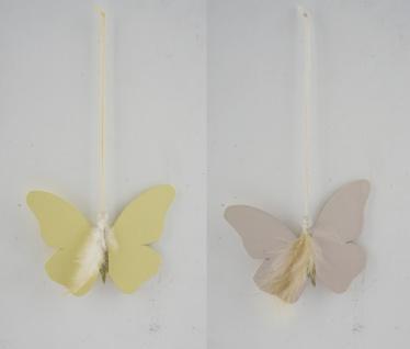 Holzhänger, Schmetterling, beige / gelb, 2 Stück, 13 x 10 x 0, 1 cm