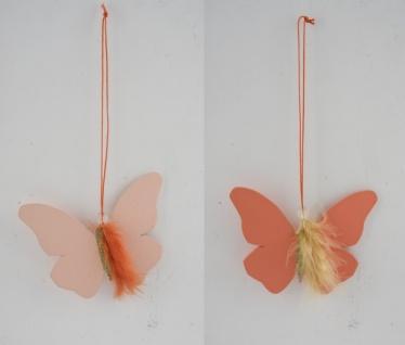 Holzhänger Schmetterling mit glitzer, apricot, 2 Stück, 9, 5 x 13 x 0, 2 cm