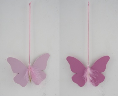 Holzhänger, Schmetterling mit Glitzer, rosa, 2 Stück, 13 x 10 x 0, 1 cm