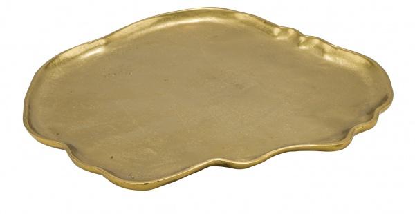 Metallschale auf Füßen, gold, lackiert, 40 x 40 x 5 cm
