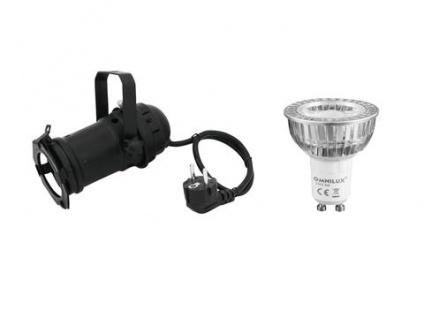 EUROLITE Set PAR-16 Spot sw + GU-10 230V COB 1x3W LED 2700K