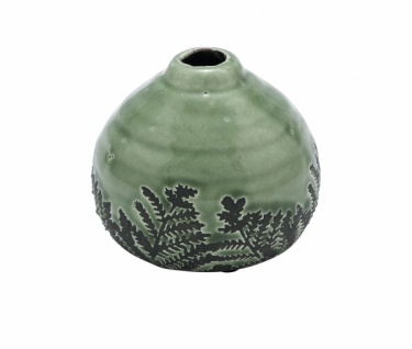 Keramikvase mit Farn, grün, Ø 10, 5 cm / Höhe: 9 cm