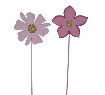 Holzstecker Blume, rosa, 2 Sorte, 6 x 0, 5 x 25 cm