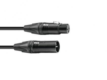 PSSO DMX Kabel XLR 3pol 3m sw Neutrik schwarze Stecker