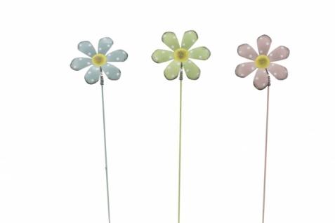 Metallstecker Blume, 3 Stück, pastell, 25 x 6, 7 cm