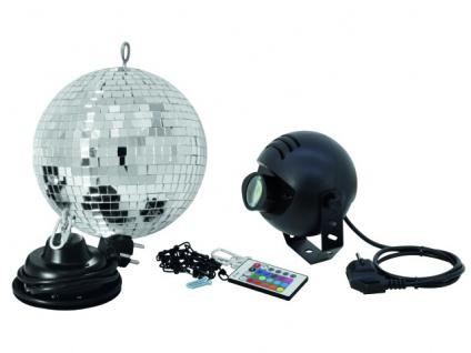 EUROLITE Spiegelkugelset 20cm mit LED-RGB-Spot FB